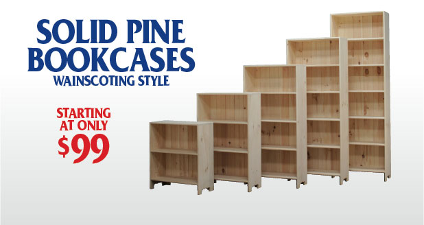 Solid Pine Bookcases with Wainscotting Style